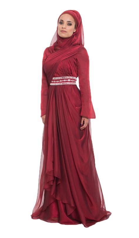 long dress muslim women burgundy silk chiffon islamic formal long dress with hijab