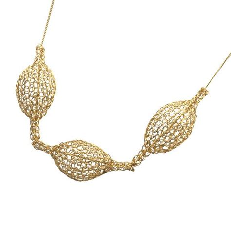 wire crochet necklace 3 crocheted gold filled pod