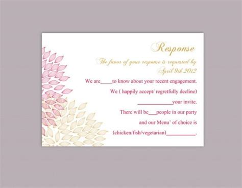 Wedding Rsvp Card Template Word by Diy Wedding Rsvp Template Editable Word File Instant