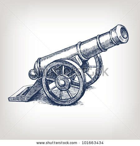 vector ancient cannon vintage ink engraving illustration