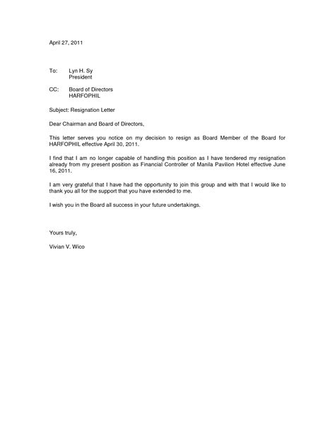 letter of resignation from board best photos of grateful resignation letter sles