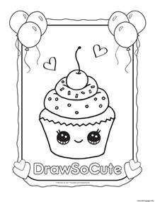 cupcake draw cute coloring pages printable