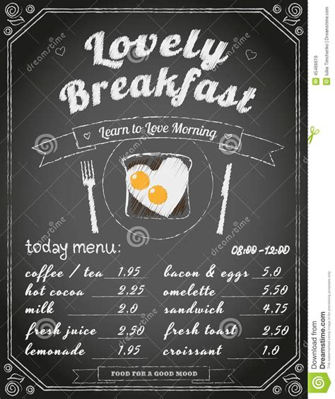 breakfast menu on the chalkboard stock vector image