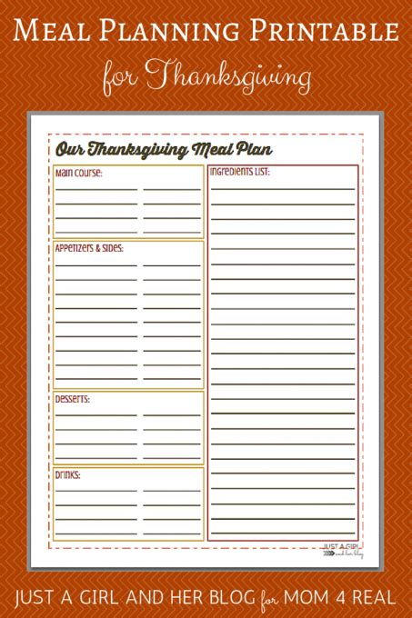 thanksgiving meal planner template thanksgiving menu meal planning free printable 4 real