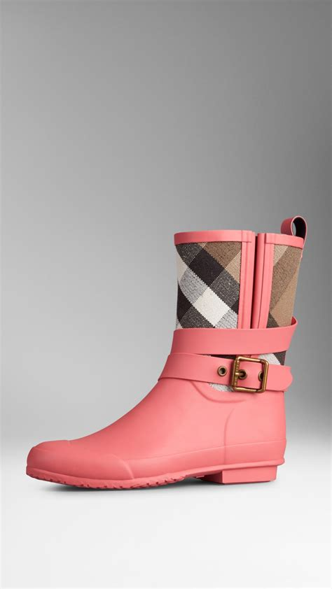 s burberry boots burberry check detail belted boots in pink lyst