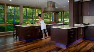 Open Cabinet Kitchen Ideas modern kitchen with dark cabinets and view of greenery