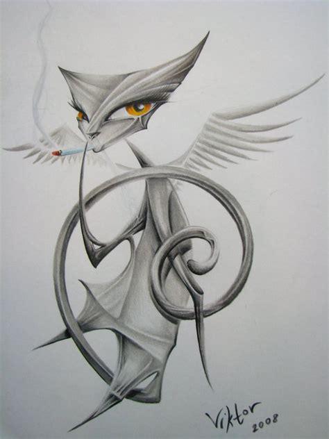 tattoo cat smoking grey ink winged origami cat smoking a sigarette tattoo