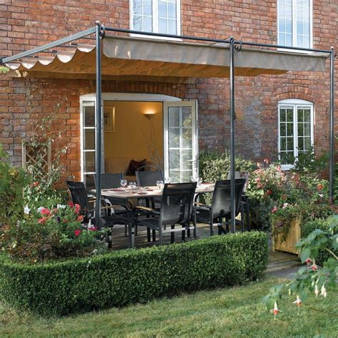 metal garden pergola 10 10 quot x 9 11 quot ft 3 3 x 3m retractable metal garden