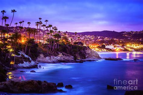 Southern Home Decor Blogs by Laguna Beach California City At Night Picture Photograph
