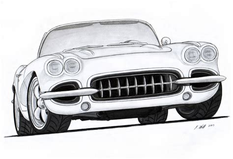 vintage corvette drawing 1962 chevy corvette roadster pro touring drawing by