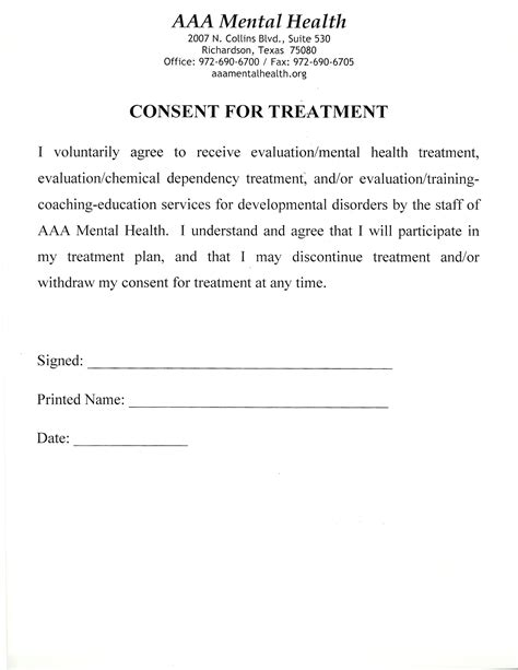 Medical Consent Form For Adults Templates Free Printable Informed Consent Form For Treatment Template