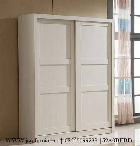 Lemari Kayu Sleding lemari pakaian pintu sliding minimalis putih jayafurni