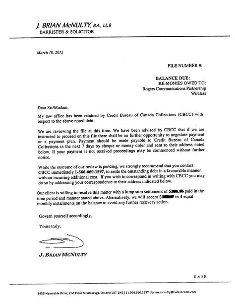 Collection Credit Letter rogers communications unleashes collection lawyer on