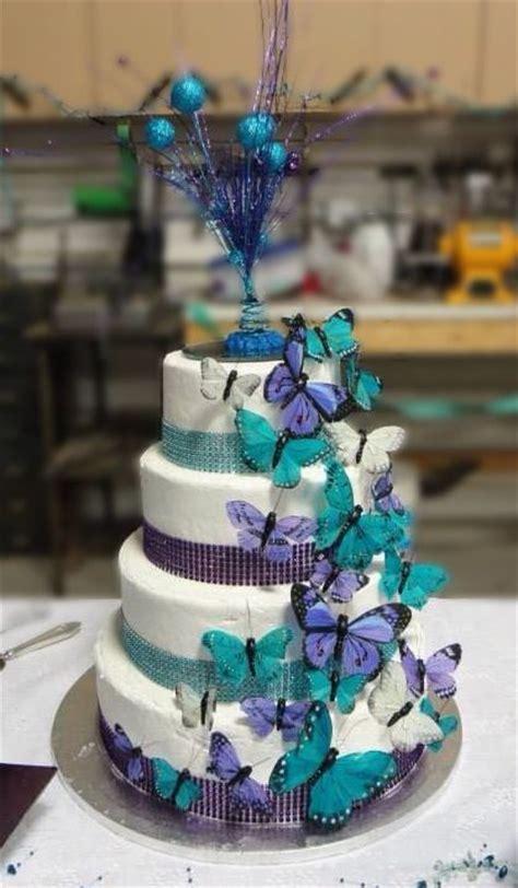 Purple and Teal Wedding cake. Hy Vee cake. Butterflies