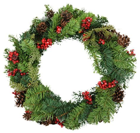 24 quot red berry and pine cone artificial christmas wreath