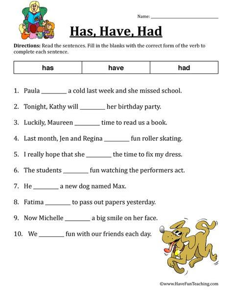 Has Had Worksheets verb worksheet has had teaching