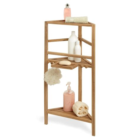 36 quot three tier teak corner bath shelf shower caddies