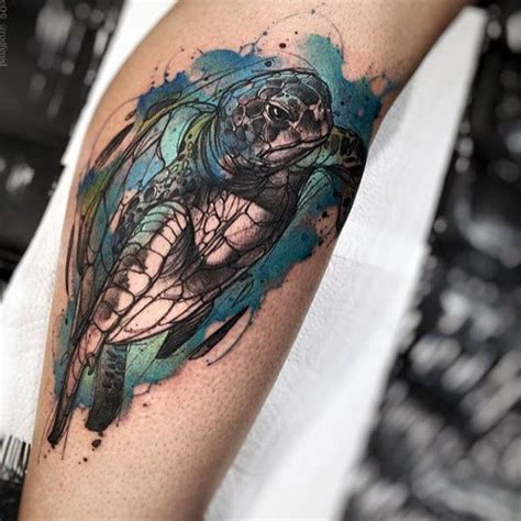 watercolor tattoos guys watercolor turtle in water mens arm