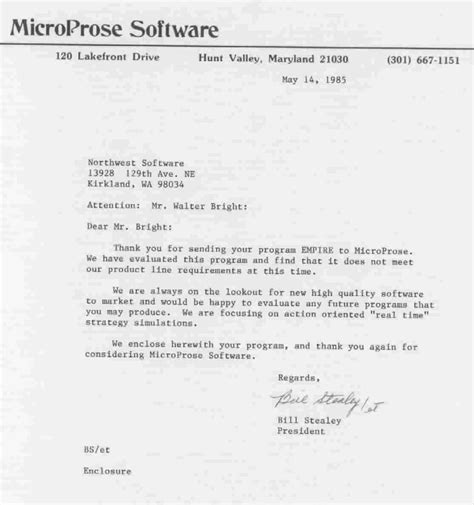 Rejection Letter Korean Empire Wargame Of The Century Tm Microprose Rejection Letter