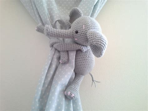 grey elephant curtains elephant curtain tie back crochet elephant amigurumi