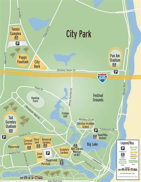 new orleans city map new orleans city park map