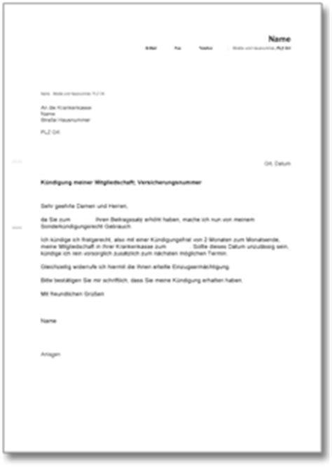 Antrag Mitgliedschaft Vorlage K 252 Ndigung Gesetzliche Krankenversicherung Au 223 Erordentlich De Musterbrief