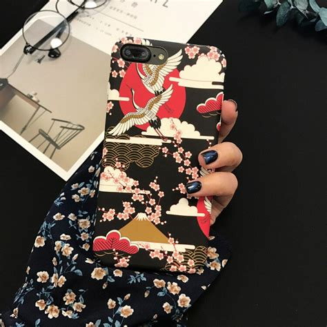 szyhome phone cases japanese style cherry blossoms crane  iphone     case frosted