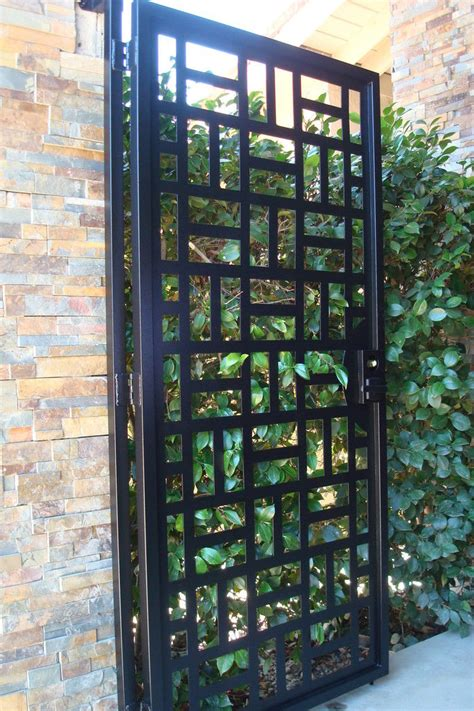 contemporary metal gate pedestrian walk thru wrought iron garden estate modern