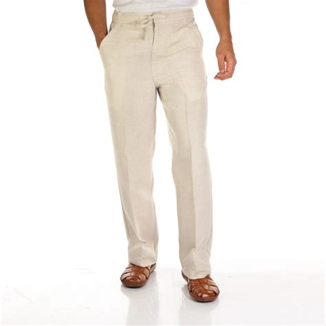 mens white linen pants drawstring   Pant Olo