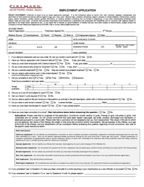 printable job application for bath and body works cinemark jobs fill online printable fillable blank