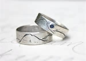 etsy wedding ring rustic mountain wedding band ring set by peacesofindigo