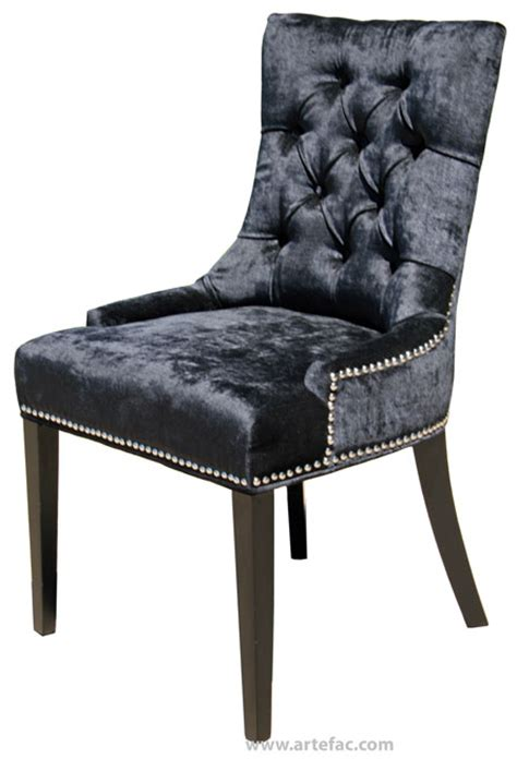 Black Tufted Dining Chairs Black Accent Tufted Fabric Dining Chair R 1071
