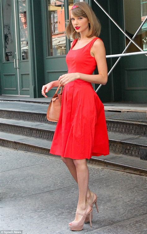 taylor swift dressed to the nines taylor swift wears flirty red dress sky high heels and