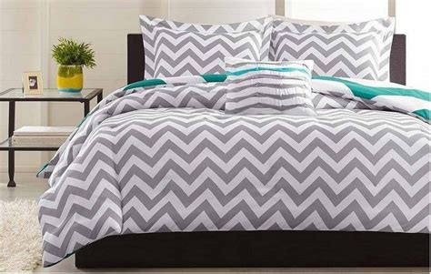 Chevron Bedding Set King Grey White Chevron 4 King Comforter Set Zigzag Stripe Teal Aries Gray New