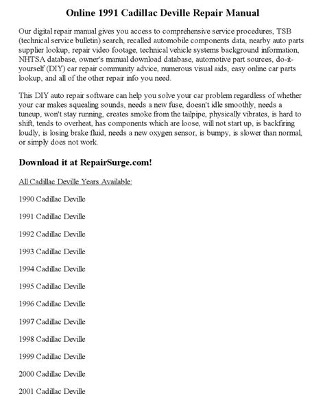 1991 cadillac deville repair manual online by ericdver issuu