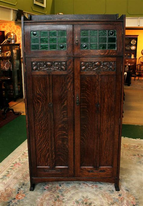 liberty style arts  crafts oak hall wardrobe antiques