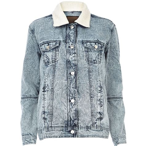 Light Wash Jean Jacket by River Island Light Acid Wash Fleece Collar Denim Jacket In
