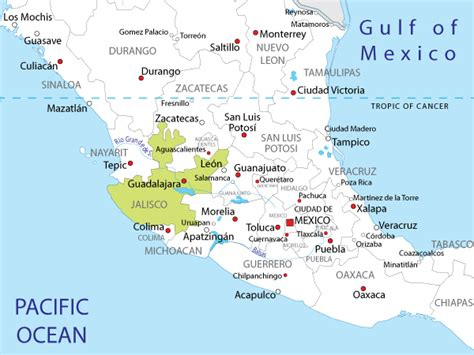 jalisco map surfing jalisco mexico