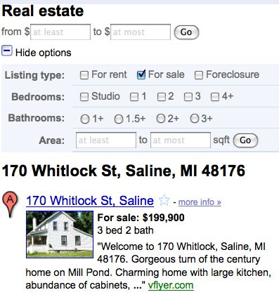 maps new feature for real estate listings