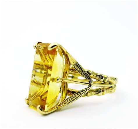 vintage emerald cut citrine ring blackheath jewellery