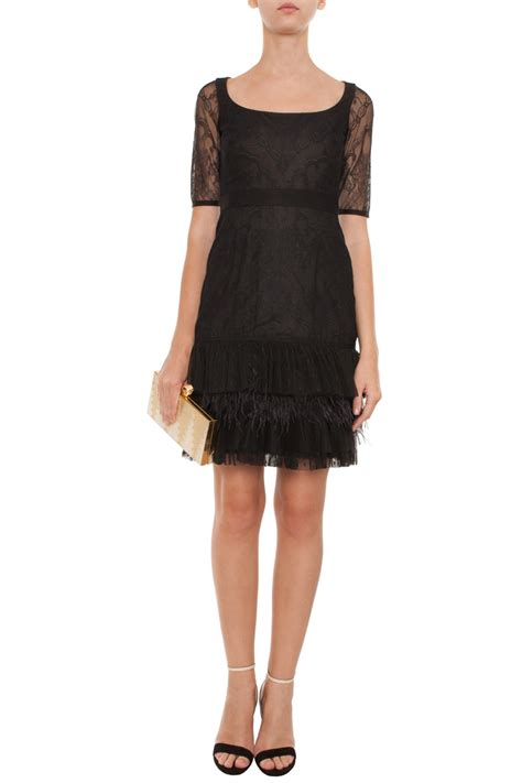 Black Lace Dress U335 lyst marchesa lace dress with feather pleated tulle in