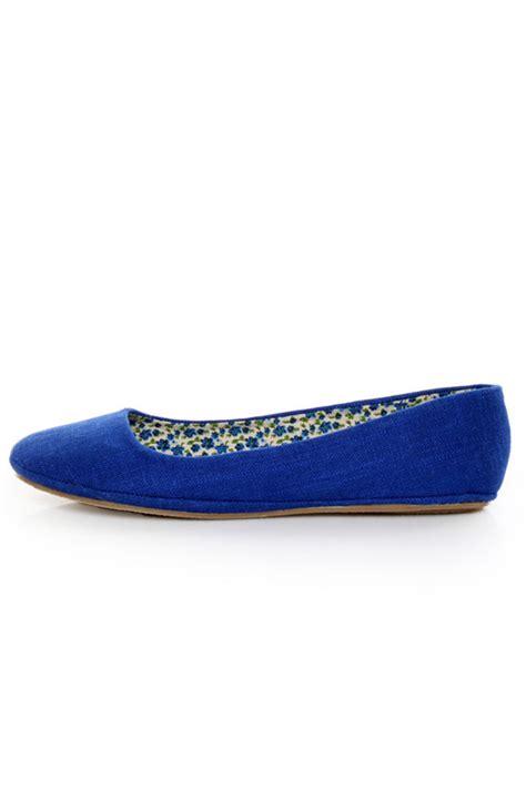royal blue shoes flats soda afar royal blue linen ballet flats 15 00