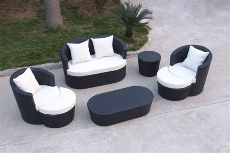 Black Wicker Outdoor Furniture All Weather With Small