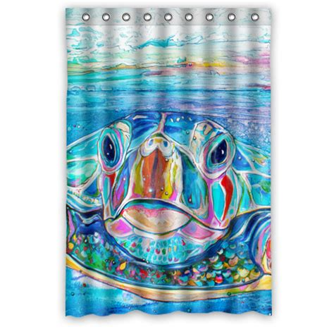 Sea Turtle Shower Curtain by Stylish Home Custom Polyester Fabric 48x72 Inches Sea