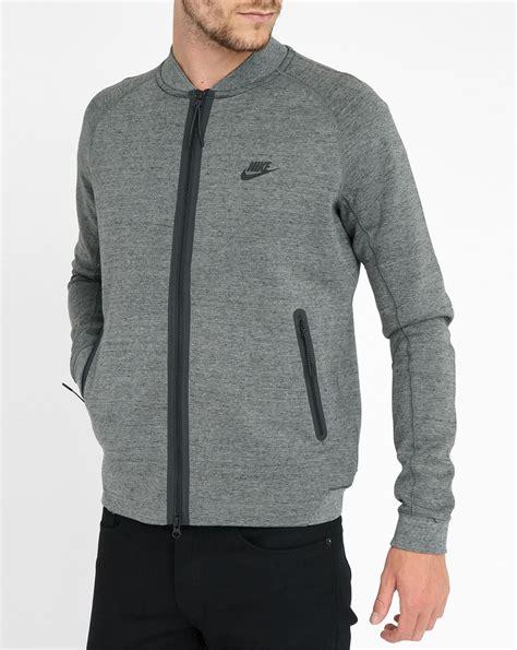 Jaket Nike Logo Black Grey nike grey techfleece jacket in gray for grey lyst