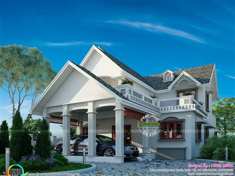 home slop graceful looking slope roof home plan kerala home design