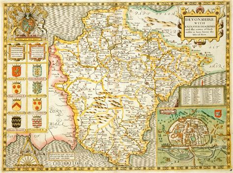 printable map exeter map of devon by john speed british library prints