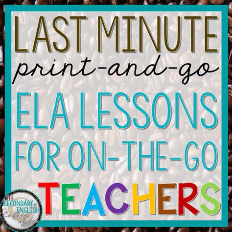 7 Last Minute Substitutions by Last Minute Language Arts Lesson Plan Ideas And