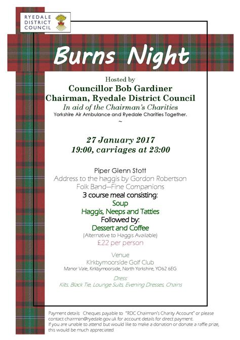 burns menu template burns invitation the kirkbymoorside town