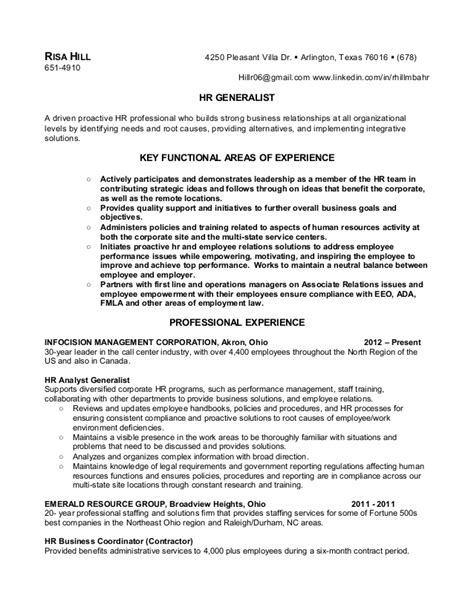 Resume Sles For Human Resources Generalist R Hill Hr Generalist Resume Feb 2013
